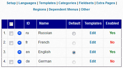 Multiple Languages Management Interface