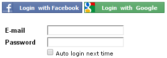 Login with Facebook or Google