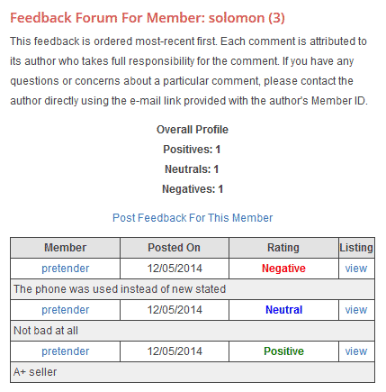 Feedback Forum/History for Ad Owner (Seller)